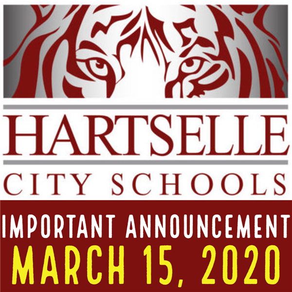 Important Information from Hartselle City Schools, March 15, 2020